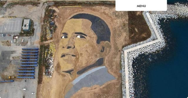 Sand Obama portrait (8 photos)