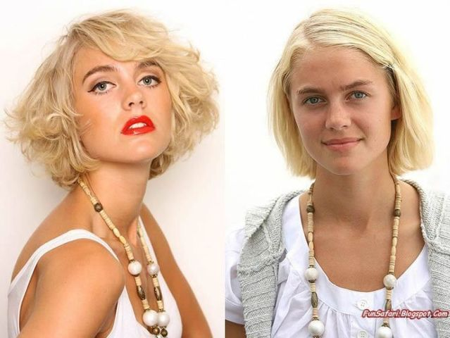 With and without make-up. See the difference! (8 photos)