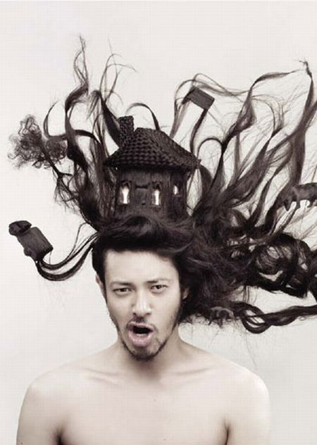 Creative work with hair by Nagi Noda (13 photos)