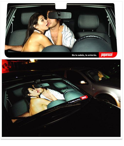 Magazine ad to put on car windshields (3 photos)