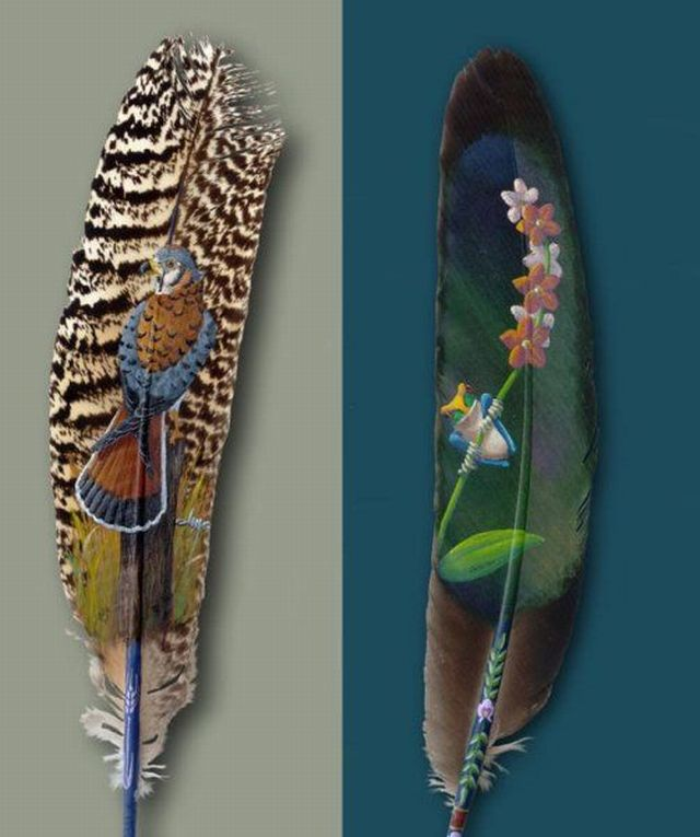Beautiful paintings on feathers (10 pics)