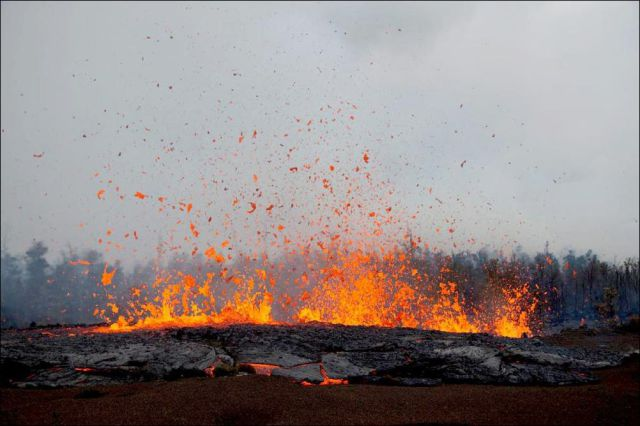Eruption of Kilauea Volcano in Hawaii