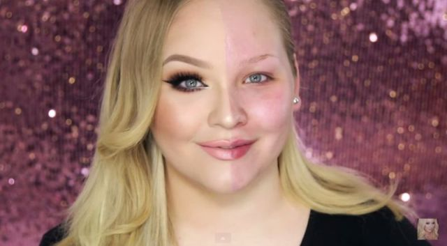 Girl Demonstrates the Dramatic Effects of Makeup with a Face-off