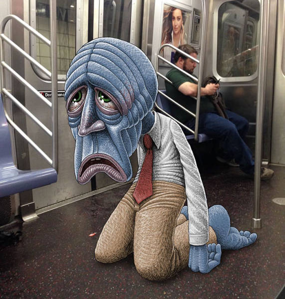 Artist Adds Freakish Creatures Next To People On The Subway